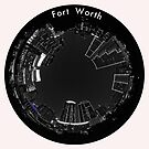 Fort Worth Circular Cityscape at Night- Circular Skyline of Fort Worth Texas Selective Color by Warren Paul Harris