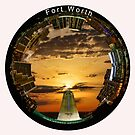 Fort Worth Circular Cityscape at Sunrise - Composite Circular Skyline of Fort Worth Texas in a Vibrant Sunrise by Warren Paul Harris