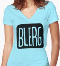 BIG BLERG Women's Fitted V-Neck T-Shirt