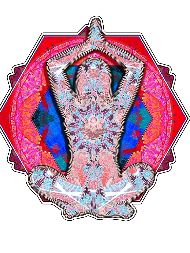Yoga Patterns Red And Blue  by CrunchySqueak