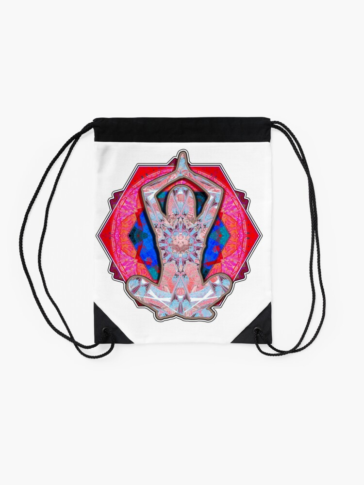 Alternate view of Yoga Patterns Red And Blue  Drawstring Bag