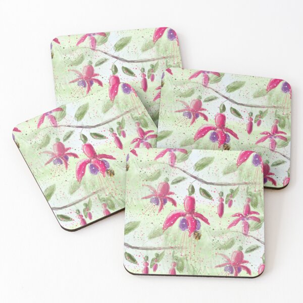 Whimsical Fuschia Floral Pattern Coasters (Set of 4)