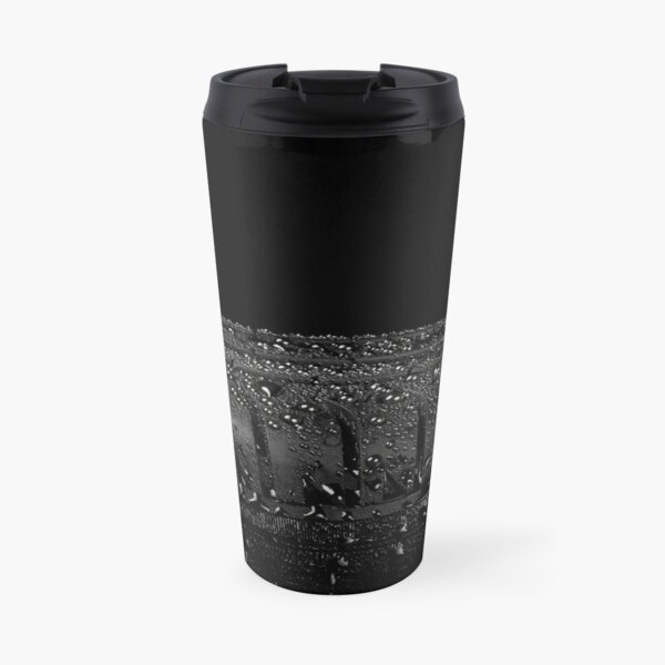 Close up view of car tyre isolated on a black background Travel Mug