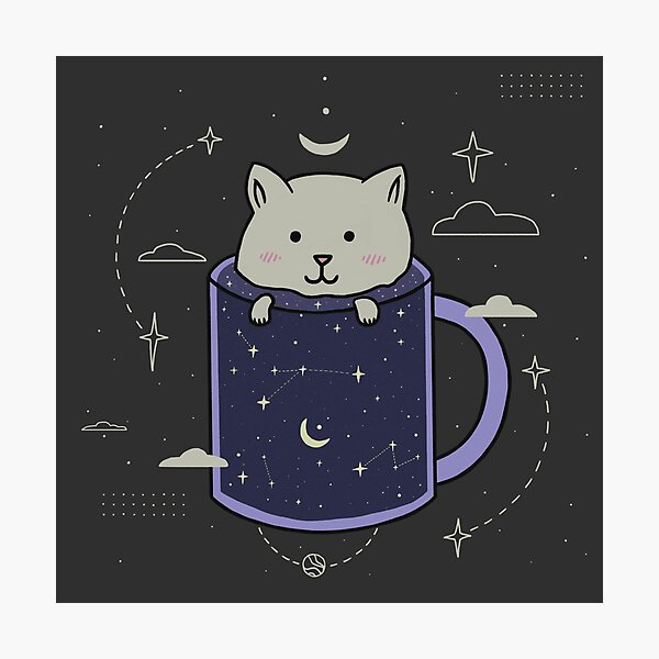 Cat in a galaxy mug Photographic Print