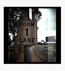 Form 1 lane Photographic Print
