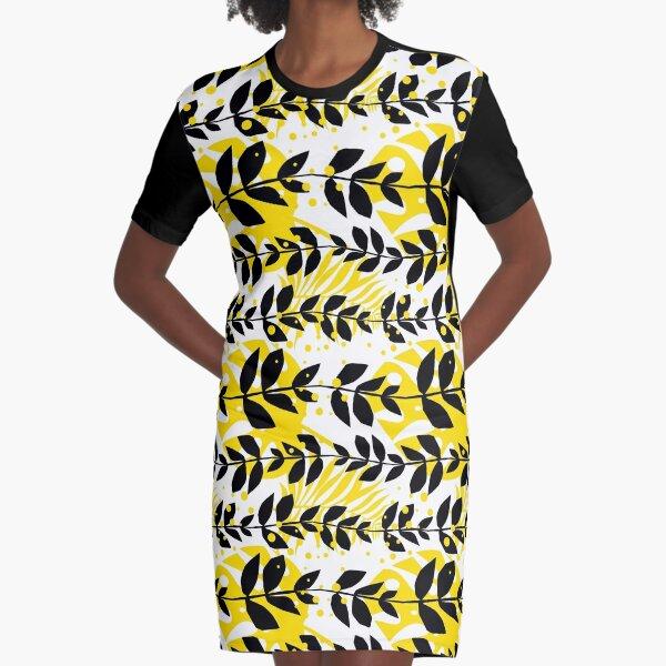 Illustration und Muster mit Blättern in schwarz, weiß und gelb T-Shirt Kleid
