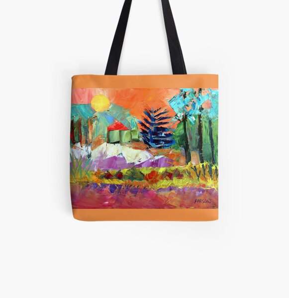 Sellersville Sunset. Bucks County, Pennsylvania. From palette knife oil painting by Pamela Parsons All Over Print Tote Bag