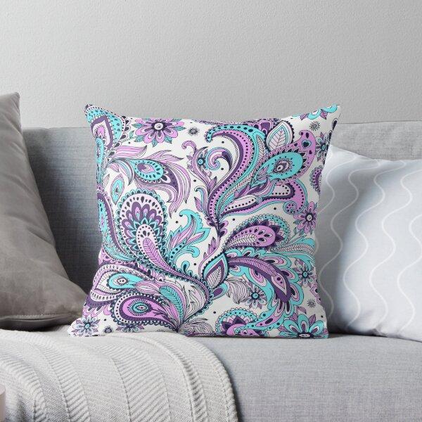 Paisley Turquoise Purple Mauve Floral Boho Throw Pillow