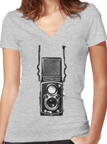Vintage Medium Format Camera Rolleiflex Twin Lens Reflex (TLR) Women's Fitted V-Neck T-Shirt