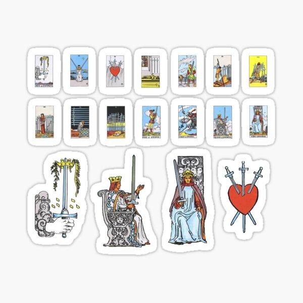 Tarot Card Sticker Set - Swords Suite 18 Piece Pack Sticker