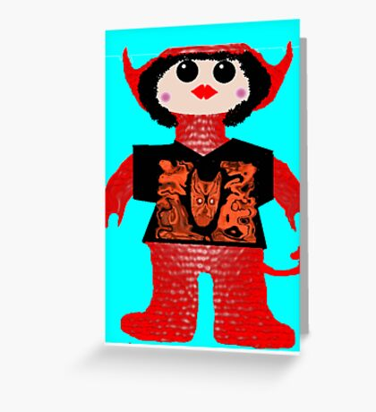 Little Devil In Disguise Rag Doll Wearing Mommy's Art 5 Greeting Card