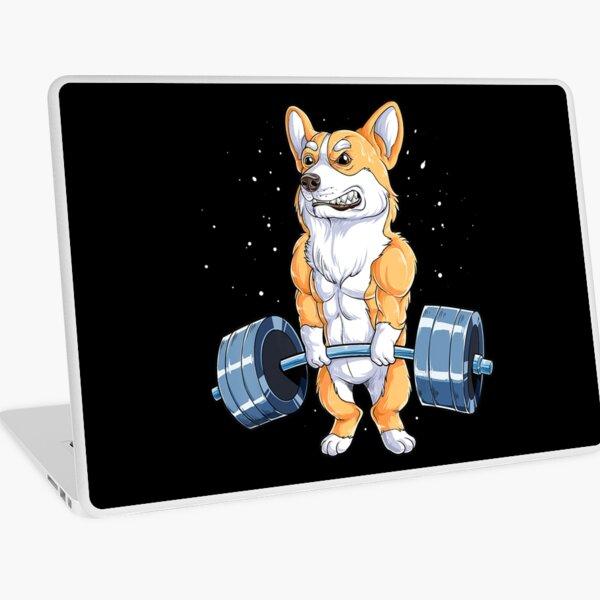 Corgi Weightlifting Funny Deadlift Fitness Gym Workout Laptop Skin
