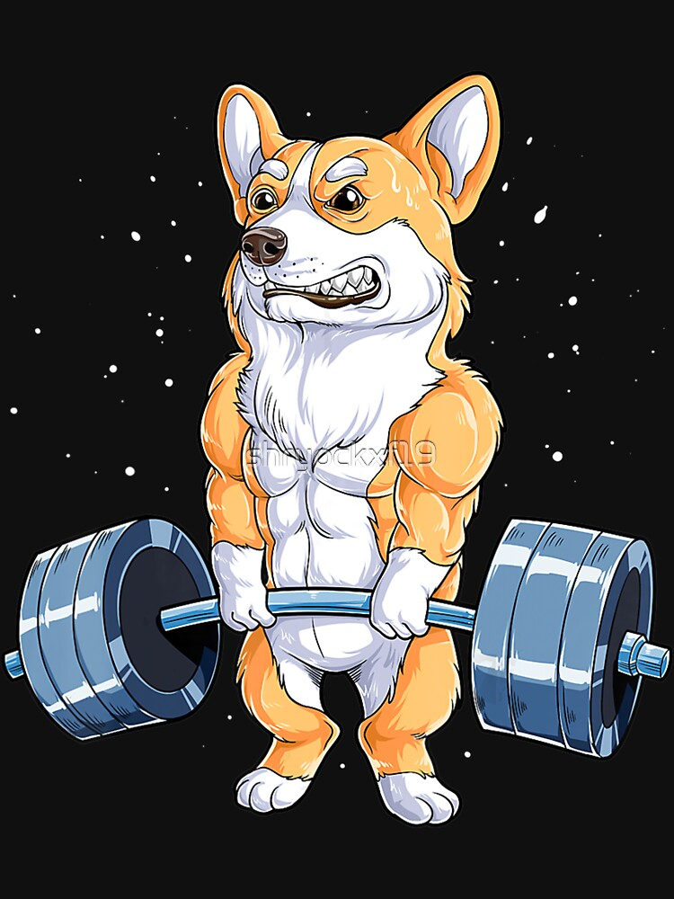 Corgi Weightlifting Funny Deadlift Fitness Gym Workout by shryockxf19