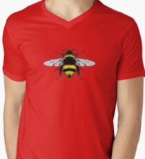 Yellow and Black Stripes Bumblebee Bug Mens V-Neck T-Shirt