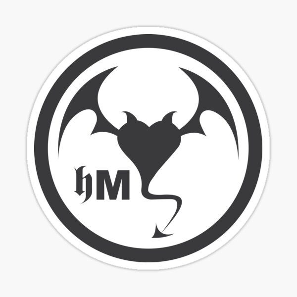 Hollywood Monsters Circle Bat Logo - DARK GREY Sticker