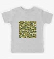 Distressed Camo Dachshund Silhouettes  Kids Clothes