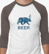 Vintage Beer Bear Deer Men's Baseball ¾ T-Shirt