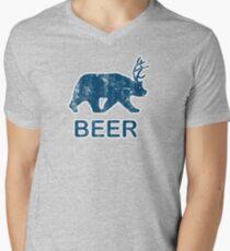 Vintage Beer Bear Deer Men's V-Neck T-Shirt