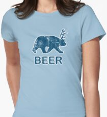 Vintage Beer Bear Deer Womens Fitted T-Shirt