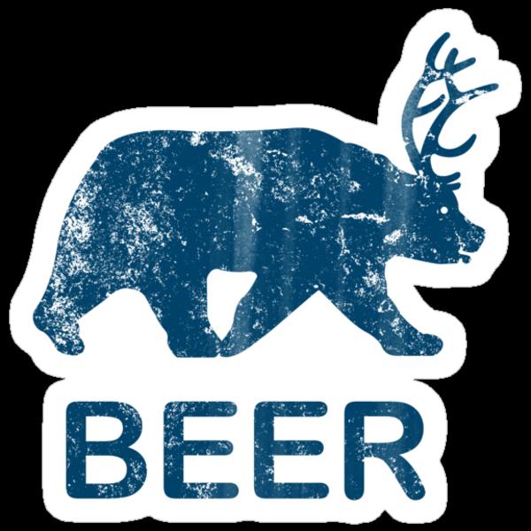 Vintage Beer Bear Deer by colorhouse