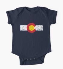 Vintage Colorado Flag Short Sleeve Baby One-Piece