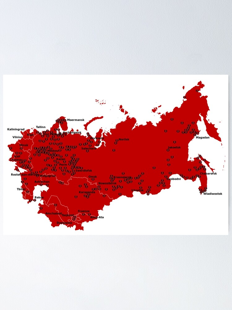 Alternate view of Locations of Gulag camps (1929-1953) Poster