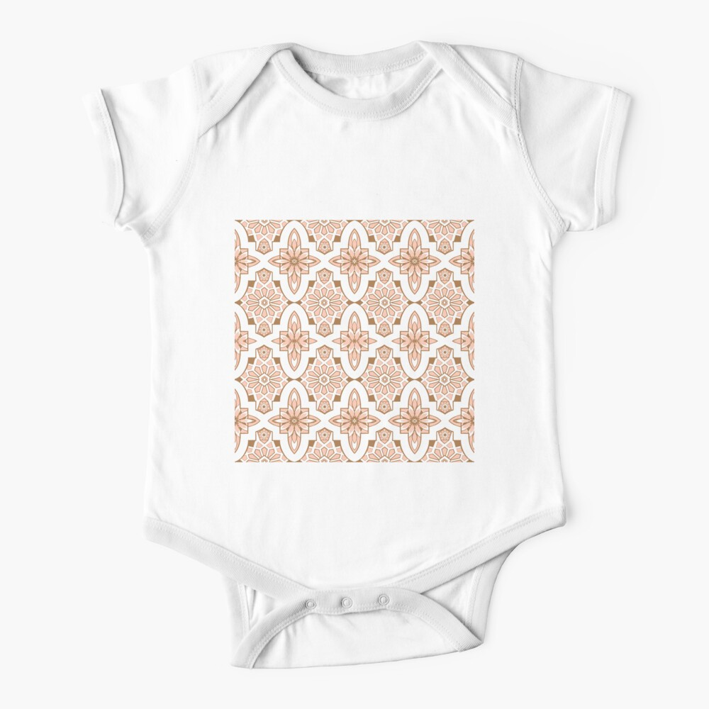 Marrakesh Tile, blush pink Moroccan Tile print art and design Baby One-Piece