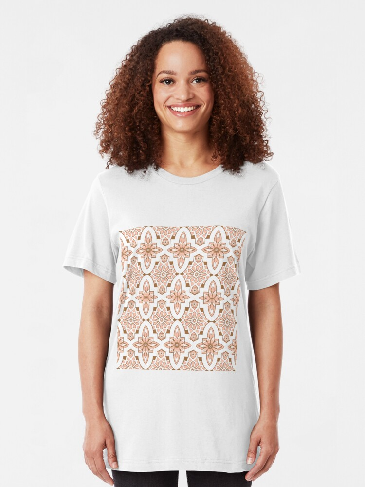 Alternate view of Marrakesh Tile, blush pink Moroccan Tile print art and design Slim Fit T-Shirt