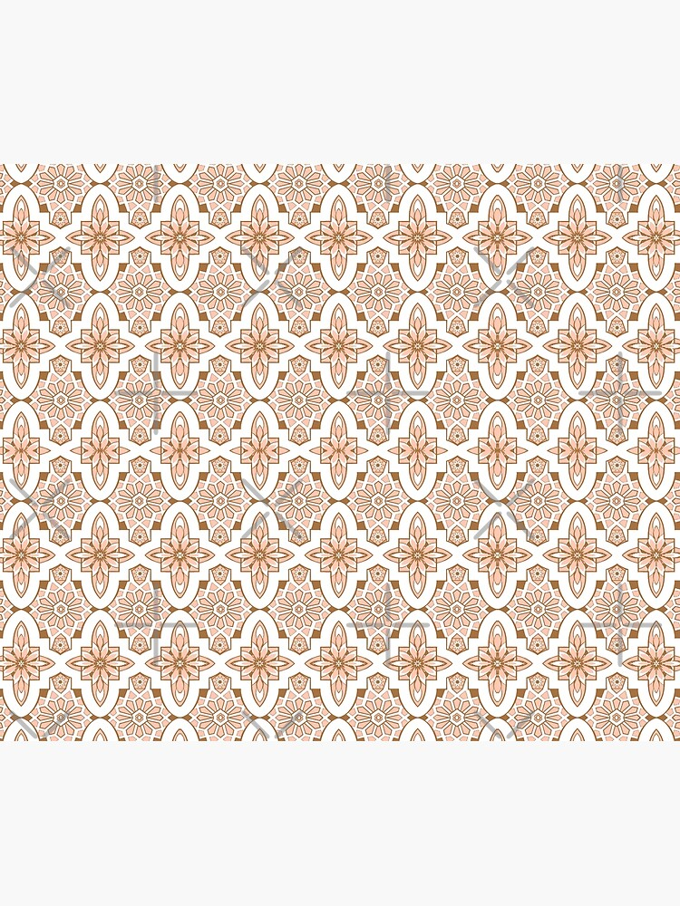 Peachy blush pink Moroccan Tile print art and design by MagentaRose