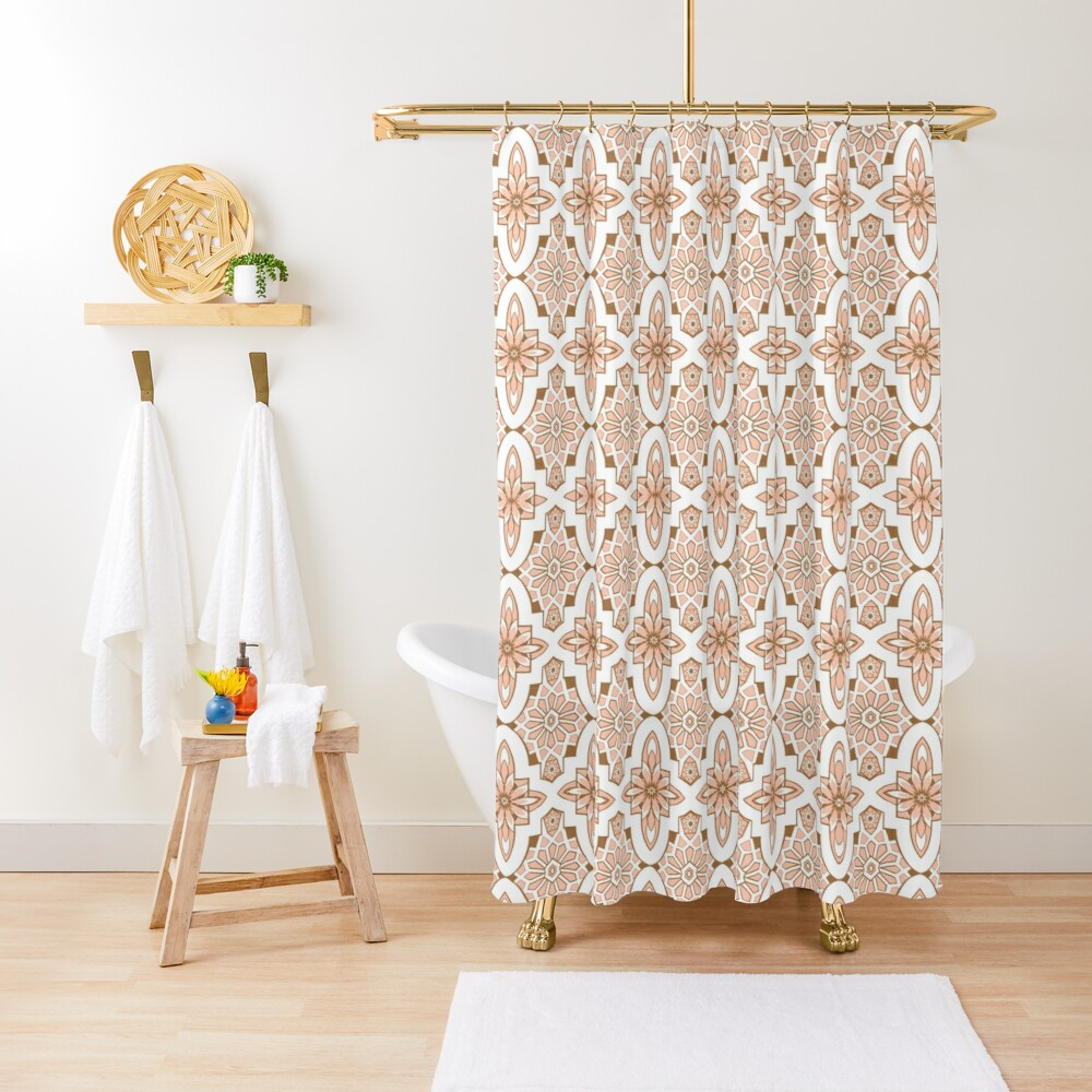 Peachy blush pink Moroccan Tile print art and design Shower Curtain
