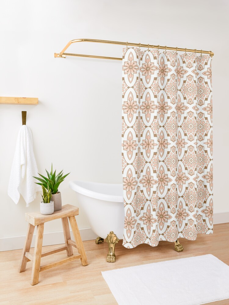 Alternate view of Peachy blush pink Moroccan Tile print art and design Shower Curtain