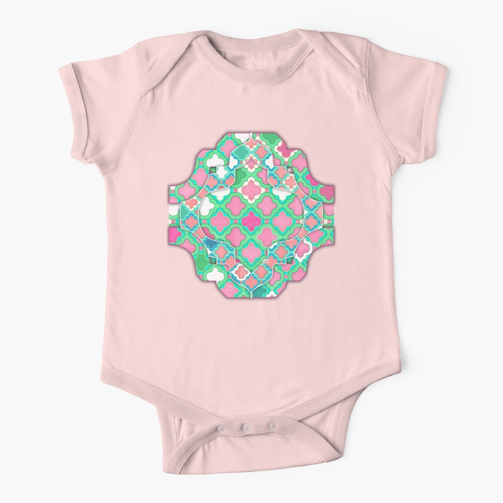 Girly Moroccan Lattice Pattern Baby One-Piece