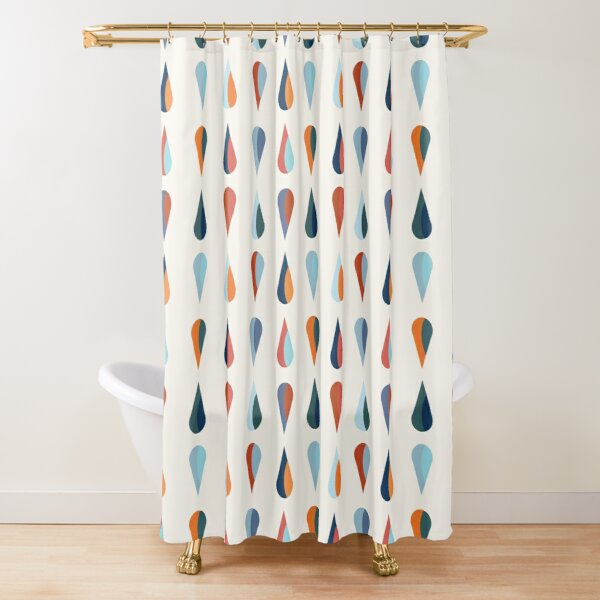 teardrop graphic in blue and orange Shower Curtain