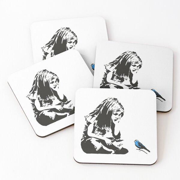 Girl with Blue Bird - Banksy Graffiti - Hull city centre Coasters (Set of 4)