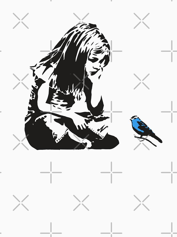 Girl with Blue Bird - Banksy Graffiti - Hull city centre by portokalis