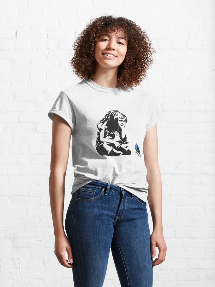 Alternate view of Girl with Blue Bird - Banksy Graffiti - Hull city centre Classic T-Shirt