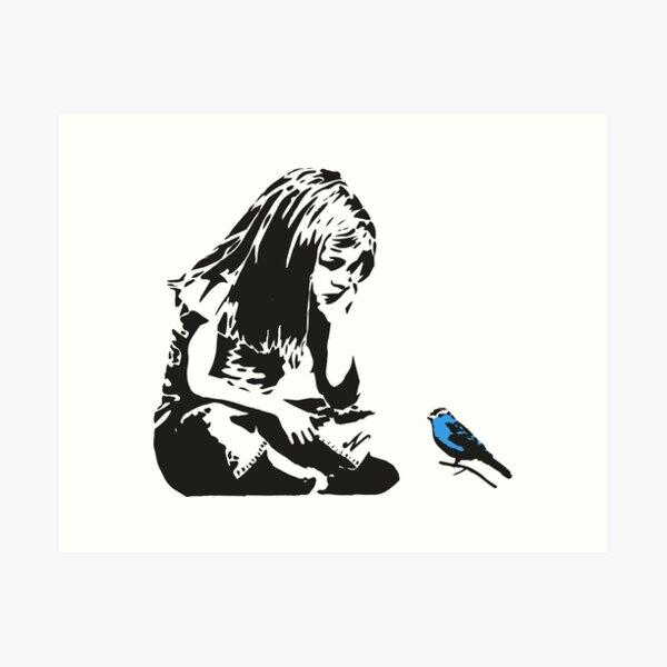 Girl with Blue Bird - Banksy Graffiti - Hull city centre Art Print