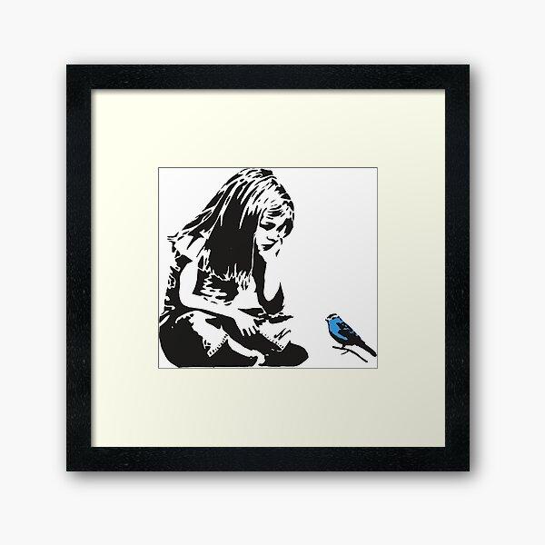 Girl with Blue Bird - Banksy Graffiti - Hull city centre Framed Art Print