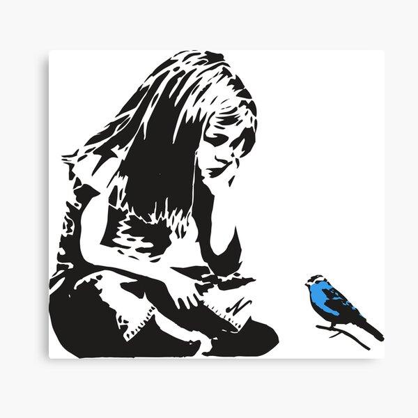 Girl with Blue Bird - Banksy Graffiti - Hull city centre Canvas Print
