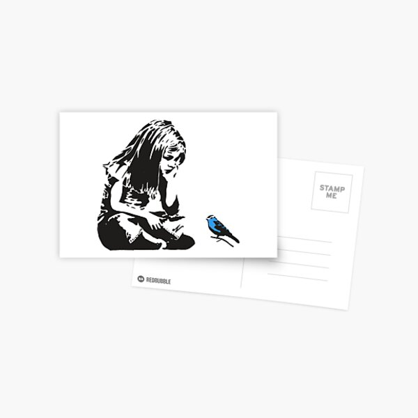 Fille avec Blue Bird - Banksy Graffiti - Centre-ville de Hull Carte postale