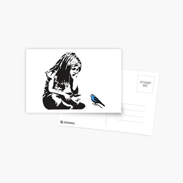Girl with Blue Bird - Banksy Graffiti - Hull city centre Postcard