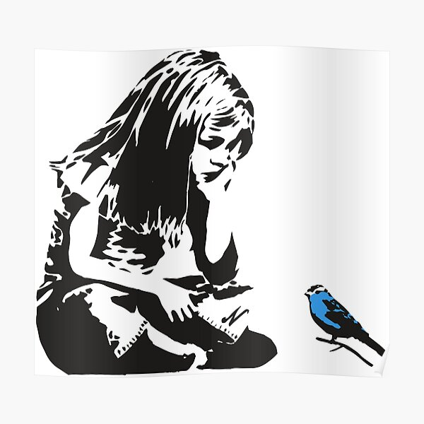 Girl with Blue Bird - Banksy Graffiti - Hull city centre Poster