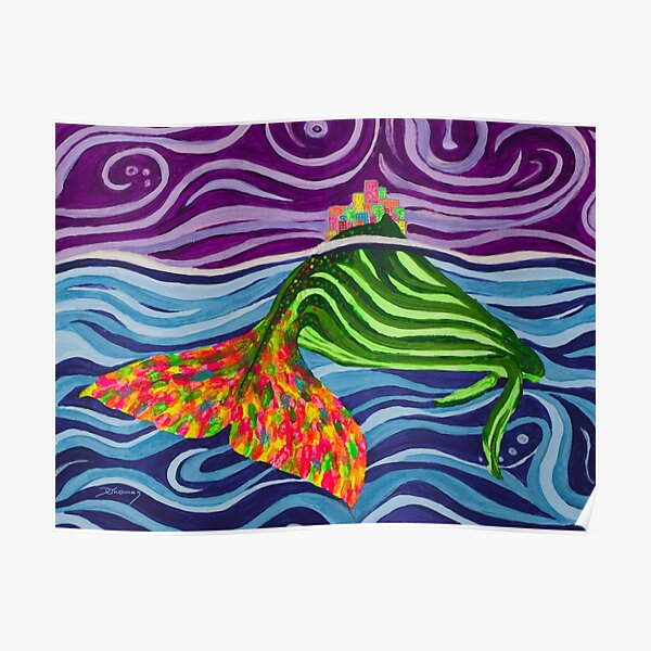 Humpback whale with Houses - abstract Poster