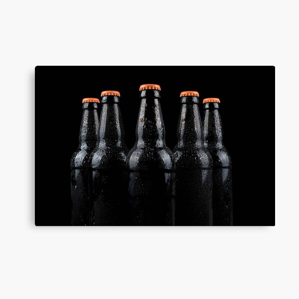 Bottles of beer with water droplets Canvas Print
