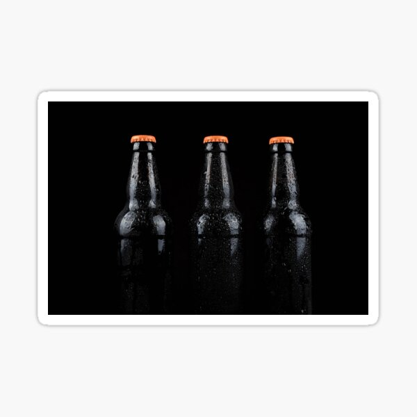 Bottles of beer with water droplets Sticker