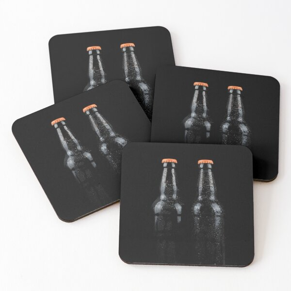 Bottles of beer with water droplets Coasters (Set of 4)