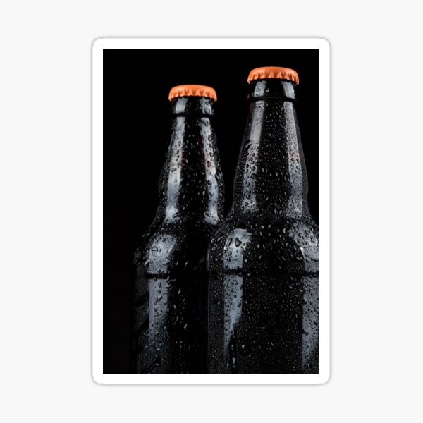 Bottles of beer with water droplets isolated on black background Sticker