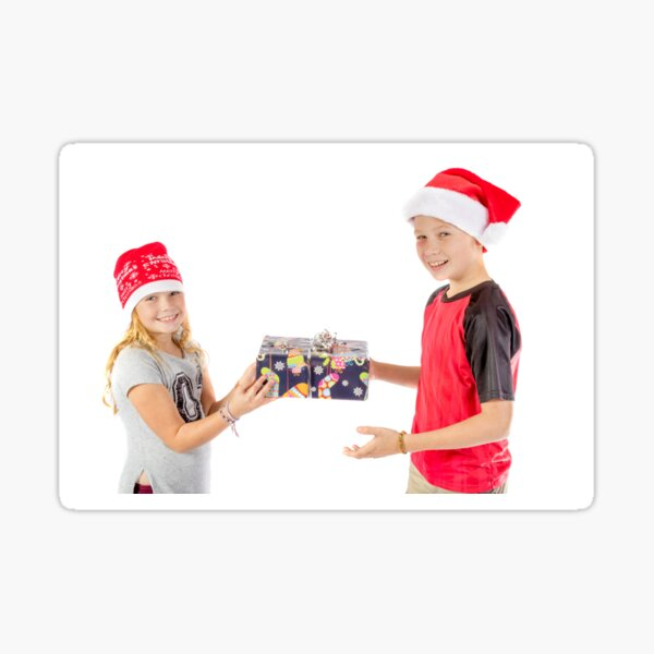 Siblings exchanging a christmas present Sticker