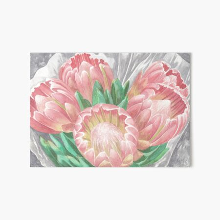 Pink Proteas Art Board Print
