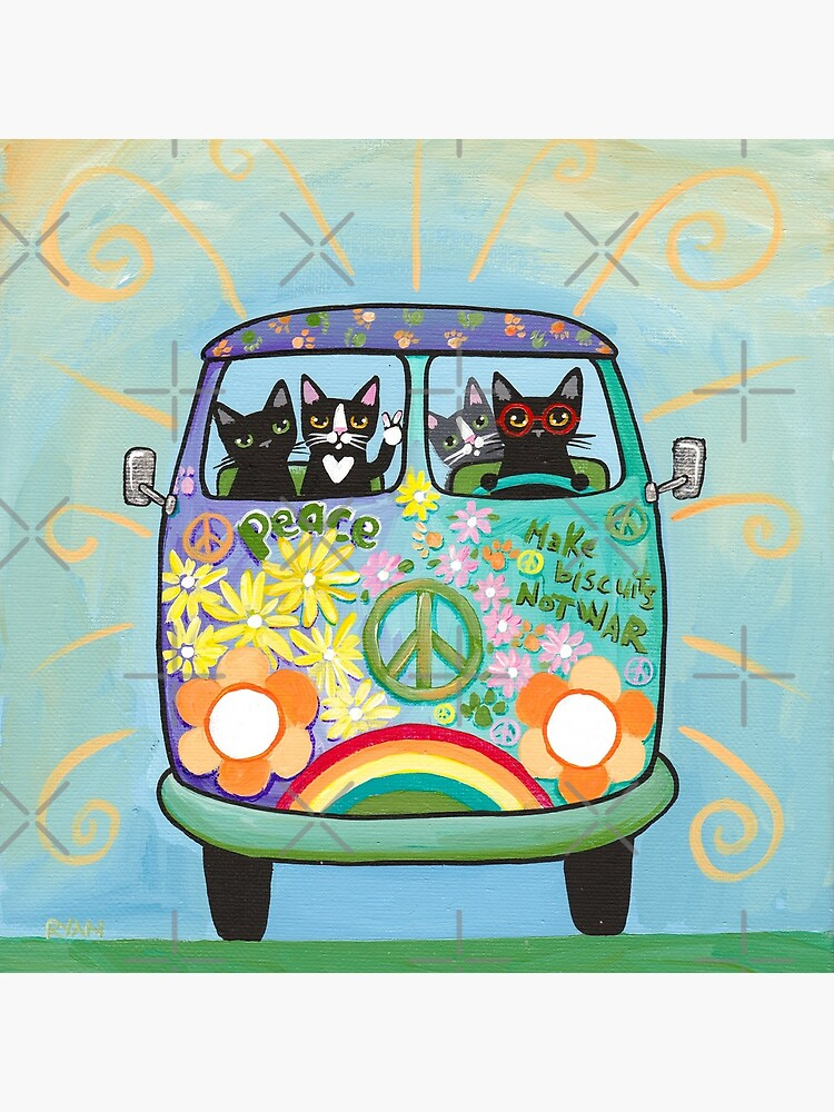 Peace and Love Hippie Road Trip Cats by kilkennycat